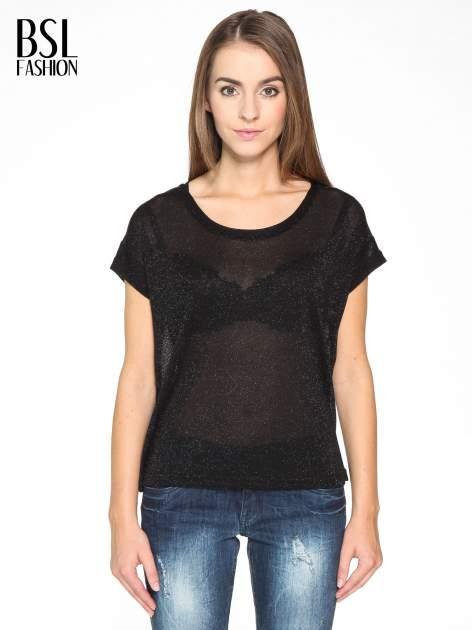 Czarny transparentny t-shirt przeplatany srebrną nicią