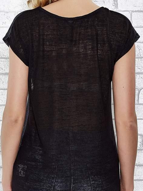Czarny transparentny t-shirt z motywem moustache                                  zdj.                                  6