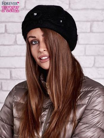 Czarny wełniany beret z błyszczącą aplikacją                                  zdj.                                  1