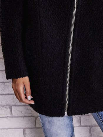 Czarny wełniany płaszcz z kieszeniami i dużym kołnierzem                                  zdj.                                  6