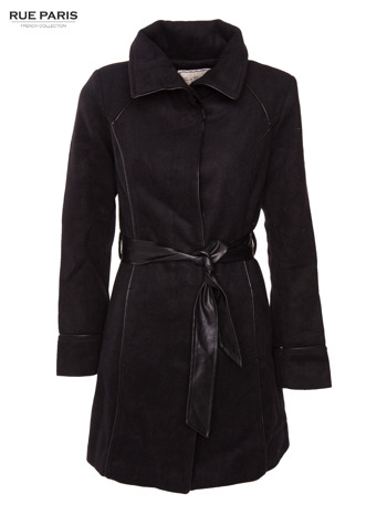 Czarny wełniany płaszcz ze skórzanym paskiem                                  zdj.                                  4