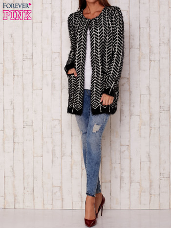 Czarny wełniany sweter z kieszeniami                                  zdj.                                  2