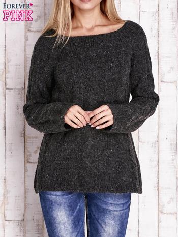 Czarny wełniany sweter z warkoczowym splotem                                  zdj.                                  1