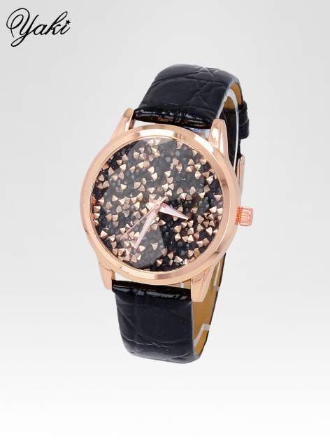 Czarny zegarek damski na pasku z tarczą glitter                                  zdj.                                  2