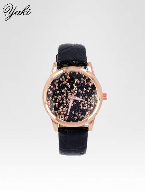 Czarny zegarek damski na pasku z tarczą glitter                                  zdj.                                  1