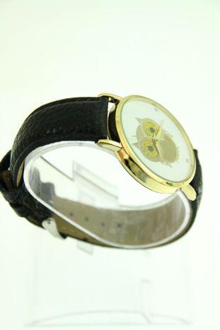Czarny zegarek damski z sową na skórzanym pasku                                  zdj.                                  2