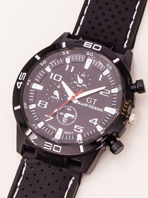 Czarny zegarek męski z białymi wstawkami                              zdj.                              3