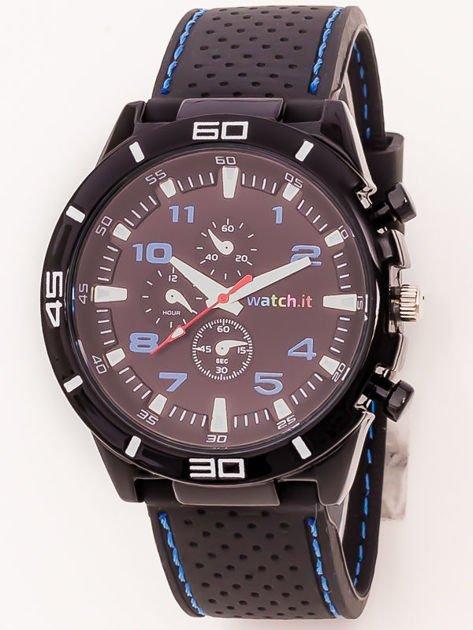 Czarny zegarek męski z niebieskimi wstawkami                              zdj.                              1