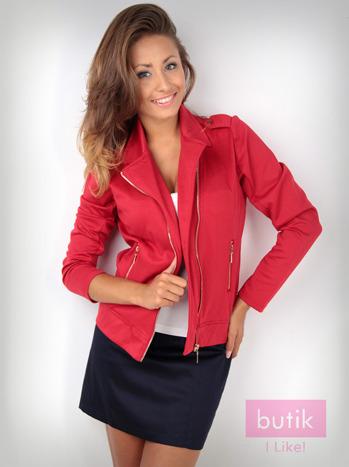 Czerwona bluza dresowa o kroju ramoneski                                  zdj.                                  1