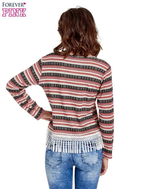 Czerwona bluza w azteckie wzory z koronką z frędzlami                                  zdj.                                  4