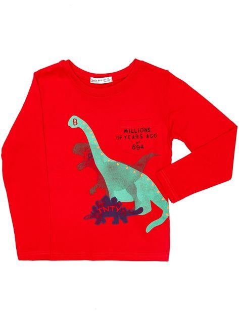 Czerwona bluzka dziecięca z dinozaurami                              zdj.                              1