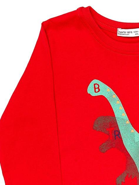 Czerwona bluzka dziecięca z dinozaurami                              zdj.                              3