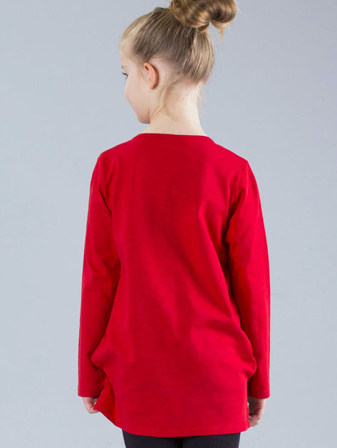 Czerwona bluzka dziewczęca z aplikacjami                              zdj.                              2