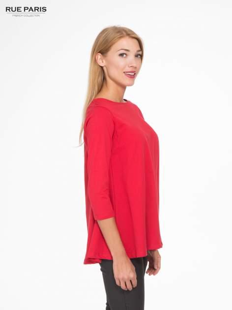 Czerwona bluzka o rozkloszowanym kroju z rękawem 3/4                                  zdj.                                  3