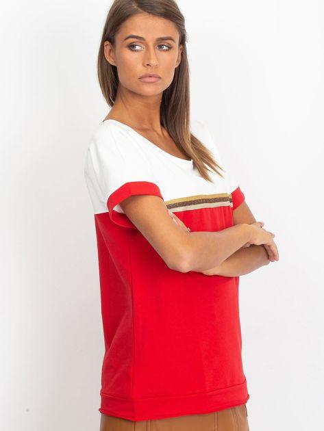 Czerwona bluzka z dekoltem na plecach                              zdj.                              3
