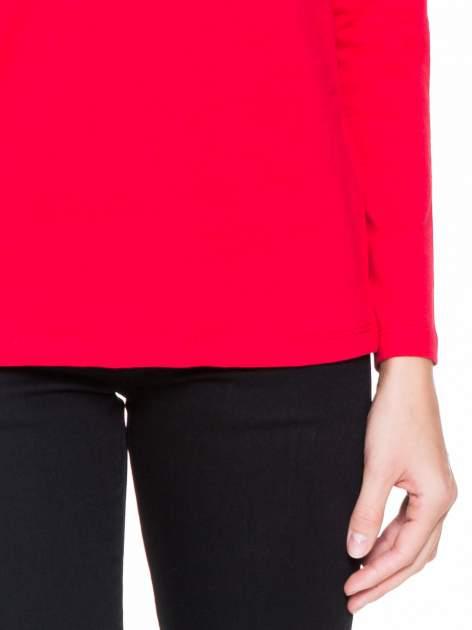 Czerwona bluzka z koronkową wstawką na rękawach i z tyłu                                  zdj.                                  6