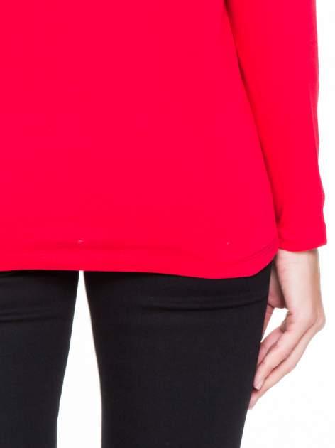 Czerwona bluzka z koronkową wstawką na rękawach i z tyłu                                  zdj.                                  7