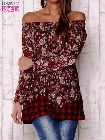 Czerwona bluzka z kwiatowym nadrukiem                                  zdj.                                  1