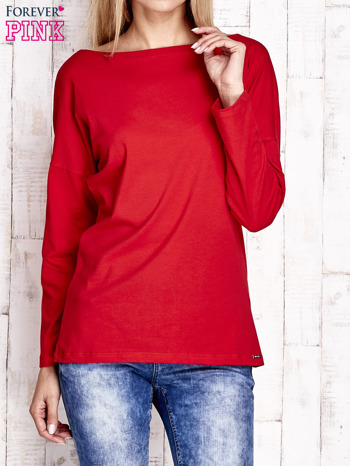 Czerwona bluzka z wycięciem na plecach i kokardą                              zdj.                              1