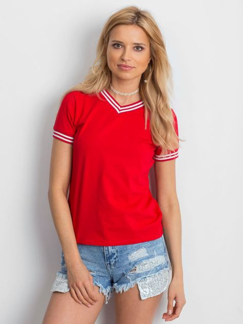 Czerwona bluzka ze ściągaczami                              zdj.                              1