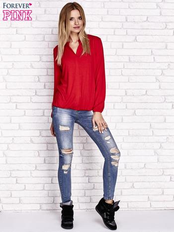 Czerwona bluzka ze ściągaczem na dole                                  zdj.                                  2