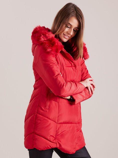 Czerwona damska kurtka zimowa                              zdj.                              3