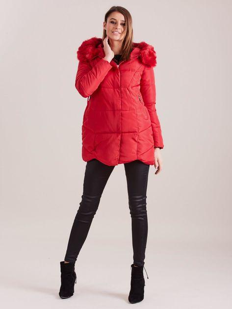 Czerwona damska kurtka zimowa                              zdj.                              4