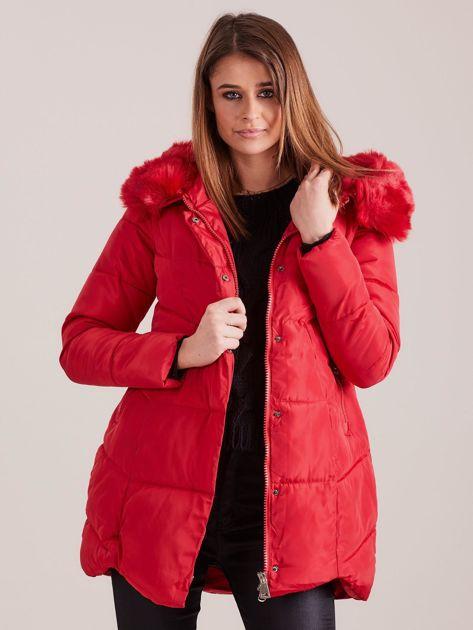 Czerwona damska kurtka zimowa                              zdj.                              7