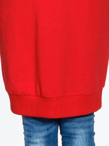 Czerwona długa bluza z kapturem                                   zdj.                                  7