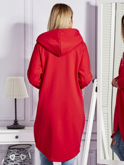 Czerwona długa ocieplana bluza z kapturem                               zdj.                              2