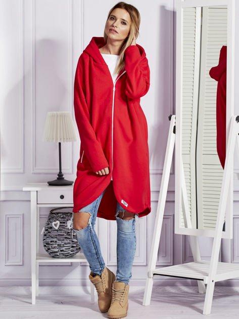 Czerwona długa ocieplana bluza z kapturem                                   zdj.                                  4