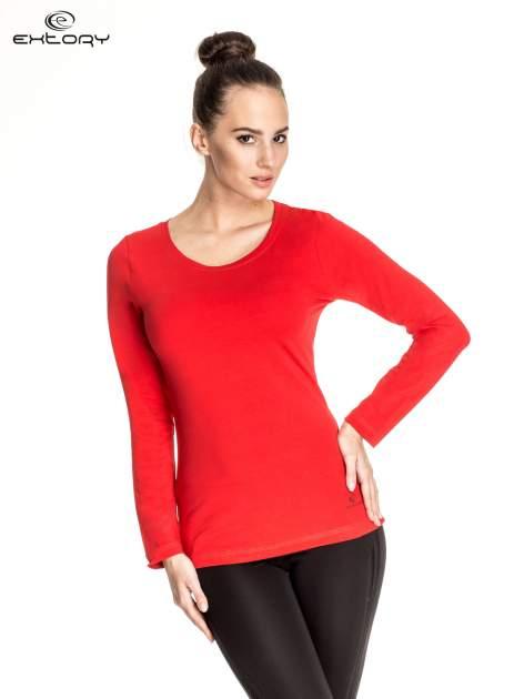 Czerwona gładka bluzka sportowa z dekoltem U PLUS SIZE                                  zdj.                                  1