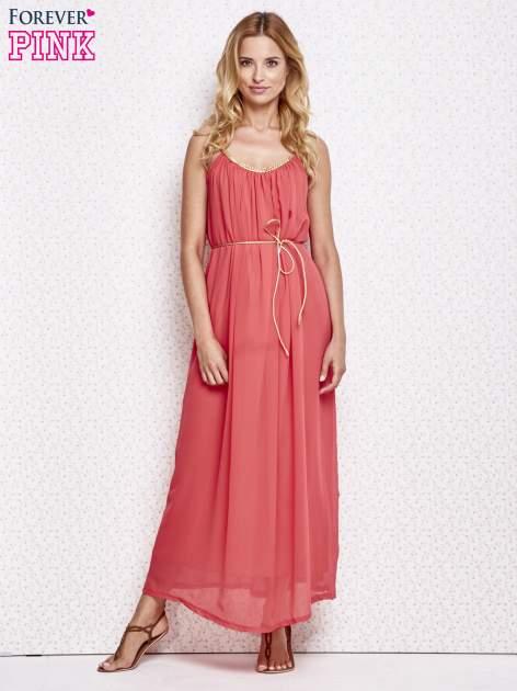 Czerwona grecka sukienka maxi ze złotym paskiem                                  zdj.                                  2