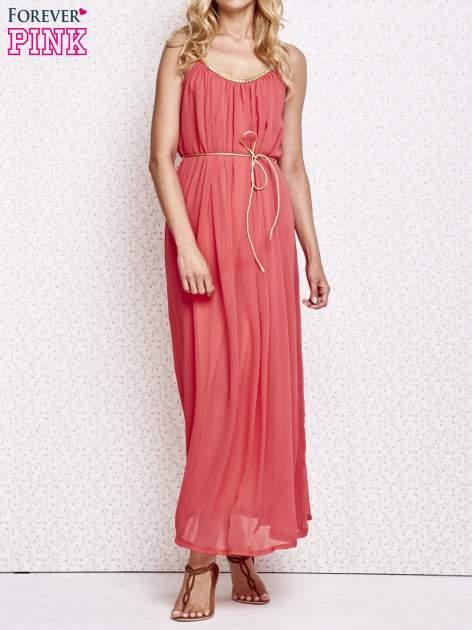 Czerwona grecka sukienka maxi ze złotym paskiem                                  zdj.                                  1