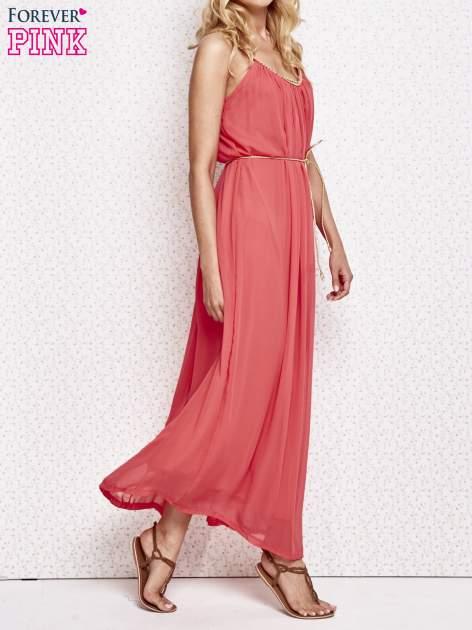 Czerwona grecka sukienka maxi ze złotym paskiem                                  zdj.                                  3