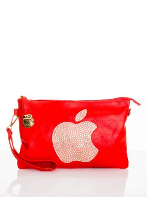 Czerwona kopertówka z dżetami motyw apple                                  zdj.                                  1