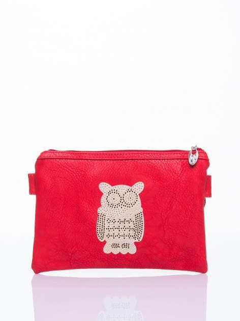 Czerwona kopertówka z dżetami motyw sowy                                  zdj.                                  2
