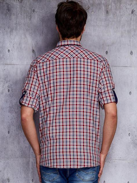 Czerwona koszula męska w kratę z podwijanymi rękawami PLUS SIZE                              zdj.                              2