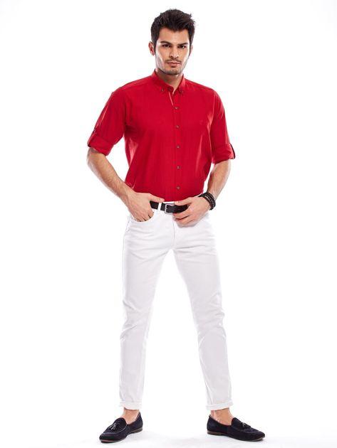 Czerwona koszula męska z podwijanymi rękawami                              zdj.                              10