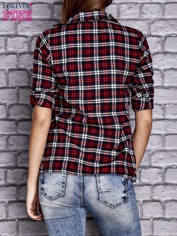 Czerwona koszula w drobną kratkę z kieszonką                                  zdj.                                  4