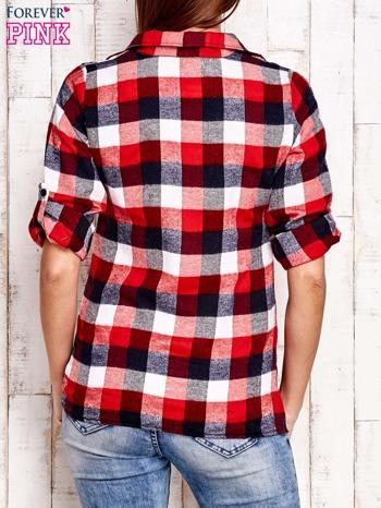Czerwona koszula w kratę z kieszonką                                  zdj.                                  2