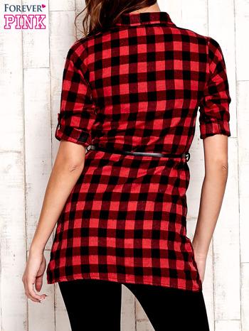Czerwona koszula w kratę z paskiem                                  zdj.                                  4