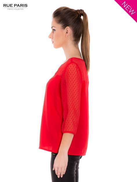Czerwona koszula z przezroczystym materiałem w groszki                                  zdj.                                  5