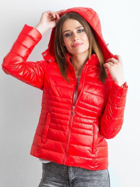 Czerwona lekka kurtka pikowana z kapturem                              zdj.                              5