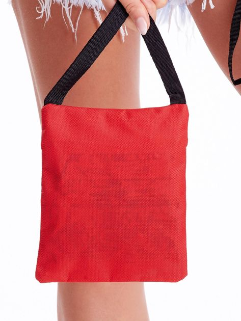 Czerwona materiałowa torba saszetka                              zdj.                              3