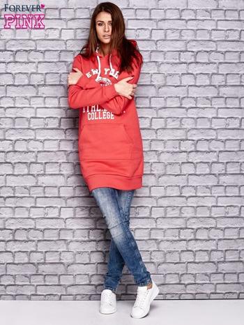 Czerwona ocieplana bluza z kapturem                                  zdj.                                  4