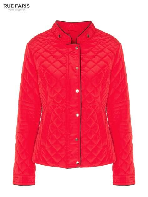 Czerwona pikowana kurtka ze skórzaną lamówką                                  zdj.                                  5