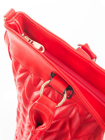 Czerwona pikowana torba na ramię                                  zdj.                                  7