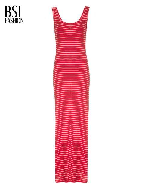 Czerwona prosta długa sukienka w paski z bawełny                                  zdj.                                  5