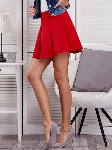 Czerwona rozkloszowana spódnica damska                                  zdj.                                  3
